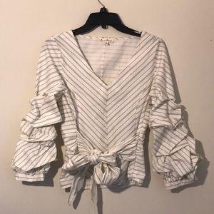 ANTHROPOLOGIE white navy striped blouse SMALL